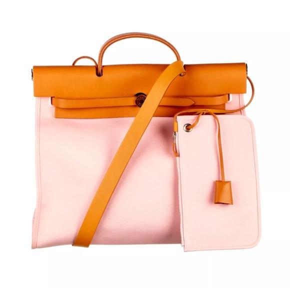 Hermes Handbags - HERMES Rose Sakura Canvas Herbag Zip 39 MM Bag